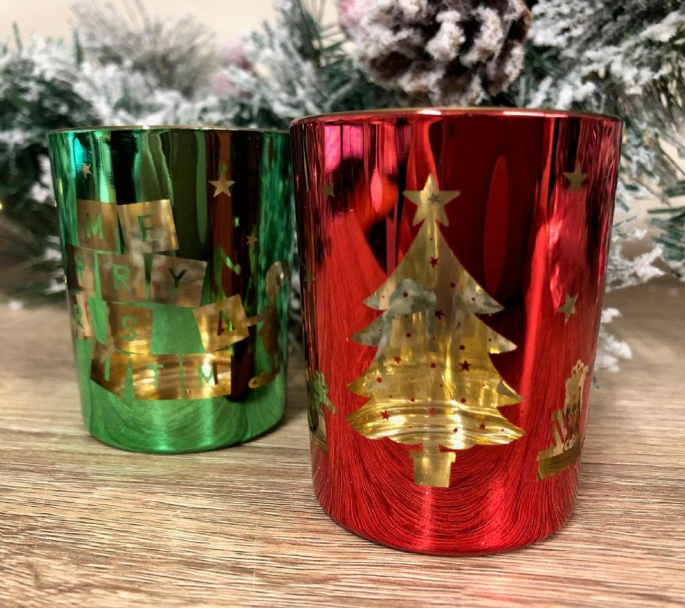 Elves Set of 2 Glass Tea Light or Votive Christmas Candle Holders